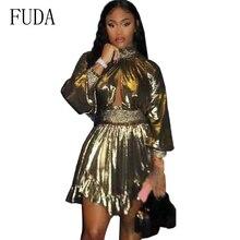 FUDA Gold Ruffles Short Dress Sexy Long Lantern Sleeve Turtleneck Open Chest A Line Mini 2019 Autumn Winter Dresses Female