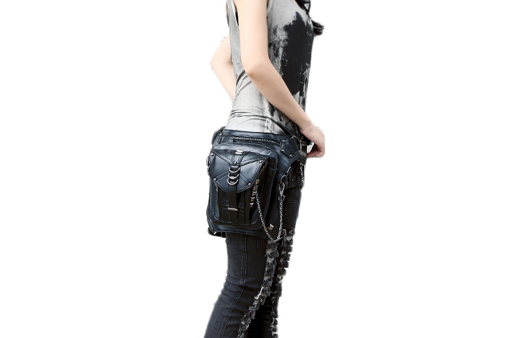 Steampunk Retro Black Gothic Leather Rivet Waist Bags