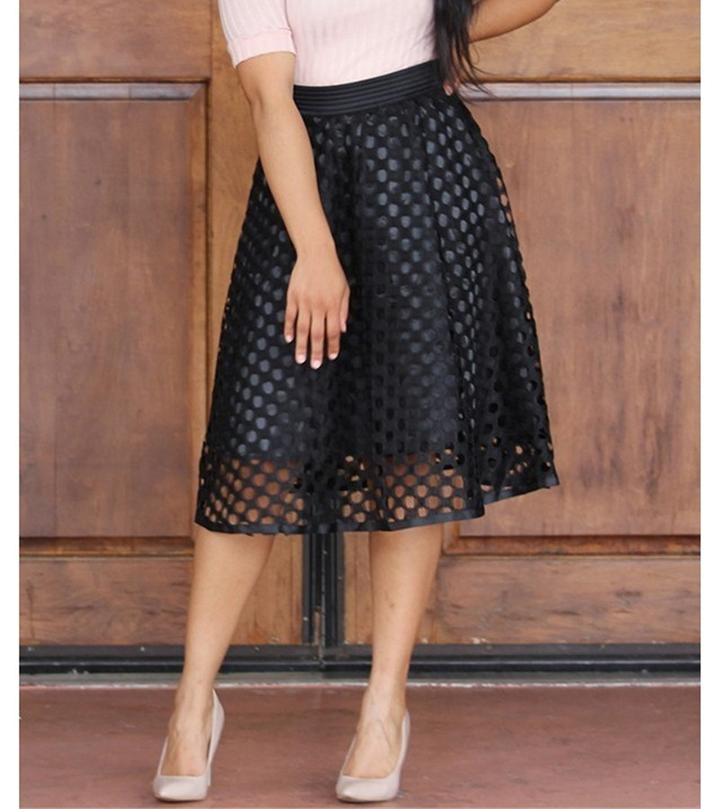 abc15d63c spring women elastic high waist maxi skirt female casual net hollow out  splicing skirt black white long skirts faldas mujer