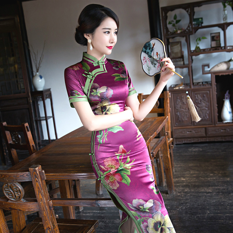 Sheng Coco 4XL Purple Qipao Flowers Dresses Traditional Chinese Lady Long Silk Evening Dress Purple Brocade Novelty Cheongsam