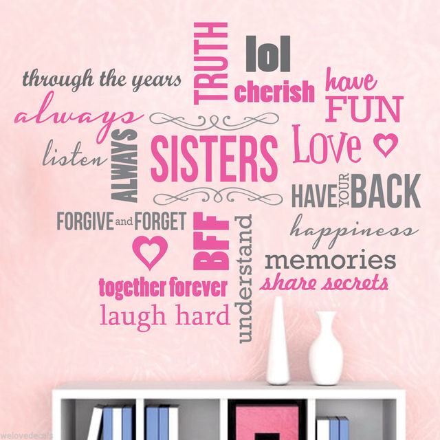 Nice 2 Color Saying Sisters Love Words Quotes Vinyl Wall Decals