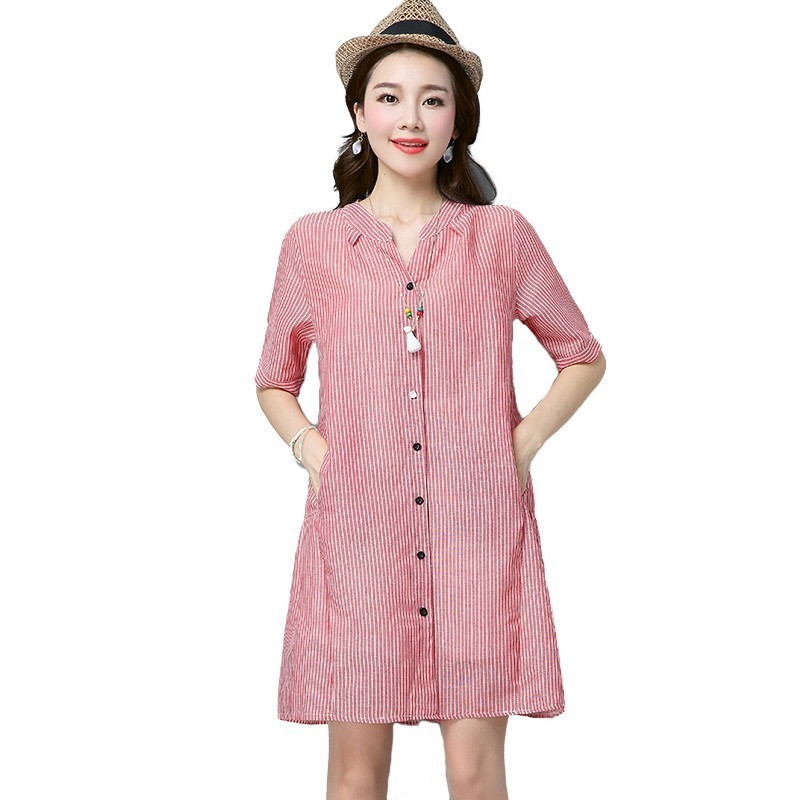 0113 Summer dress lades Pink Blue Half Sleeve V Neck Casual Loose Striped Dress woman with pockets pleated Mini Dress Femme in Dresses from Women 39 s Clothing