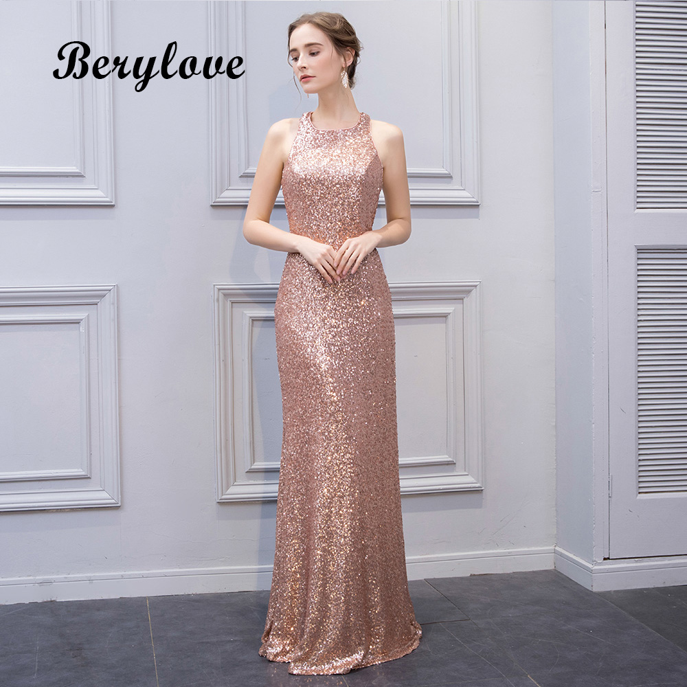 BeryLove Mermaid Champagne Sequin Evening Dresses 2018 Long Open ...