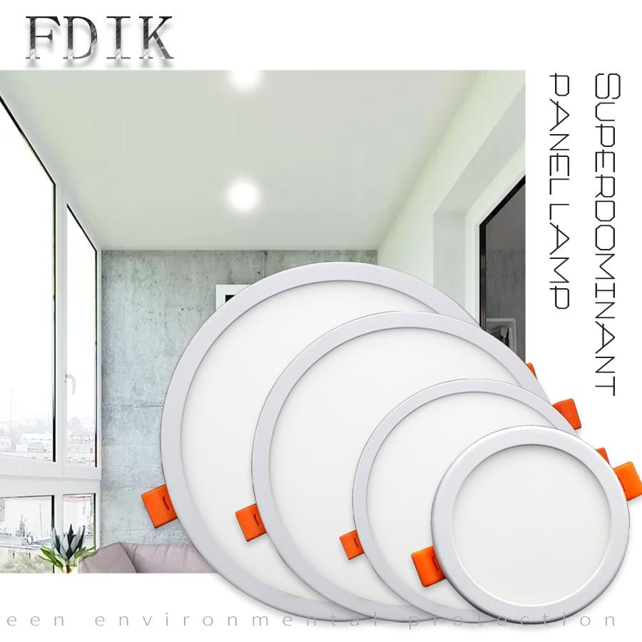 AC 220V 6W 8W 15W 20W Ultrathin LED Panel Lights Recessed Downlight Square Round Aluminum Panel Light For Living room Bathroom