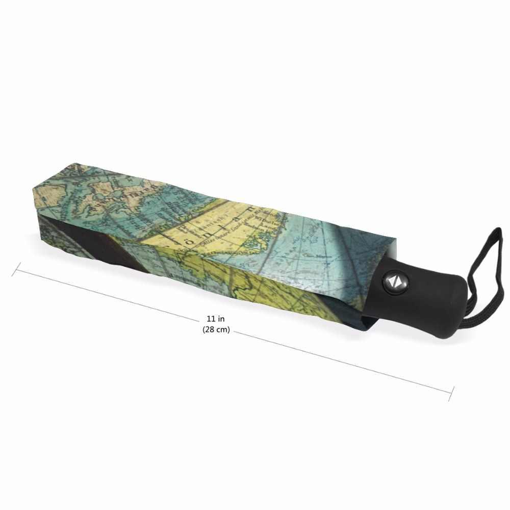 Paraguas automático con diseño creativo y patrón de mapa tres Paraguas plegables de alta calidad para protección solar para mujeres