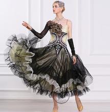customize black adult Ballroom Fox trot Quick step tango Modern tango Waltz competition Dance Stage Dance Dress