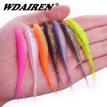 цена 10Pcs/lot Rubber Worm soft bait Shad Wobblers 70mm 1.8g Fishing Lure Swimbait Fishing Tackle Artificial Silicone Bass Carp Lures онлайн в 2017 году