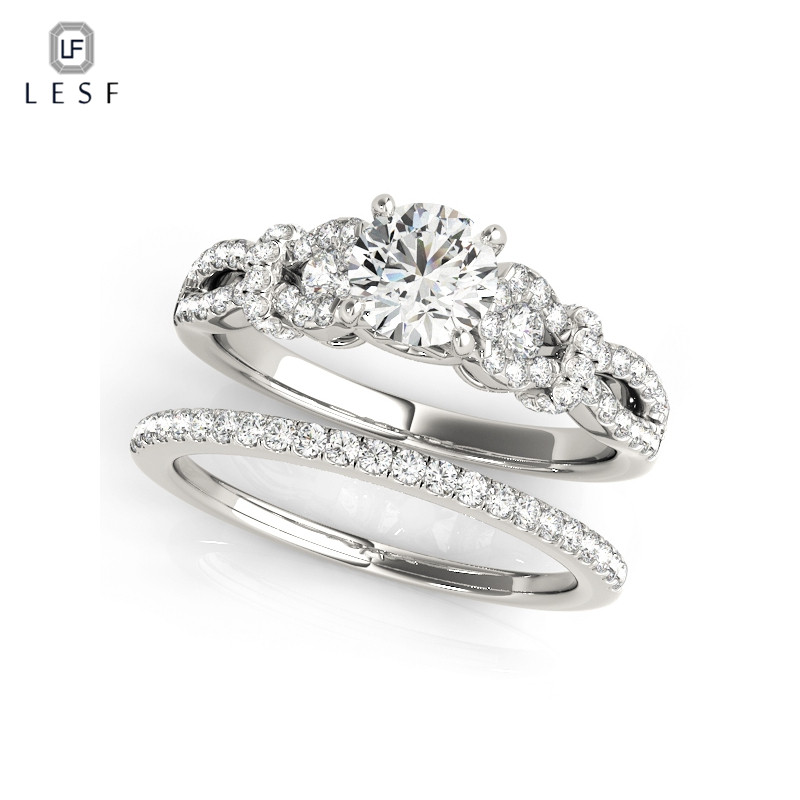 LESF 0.75 carat SONA Simulated Sona Infinity Engagement rings for women wedding bands Jewelry 925 sterling silver ring Sets tr005 sona simulated gem infinity silver color wedding rings for women solid white gold color wedding bands