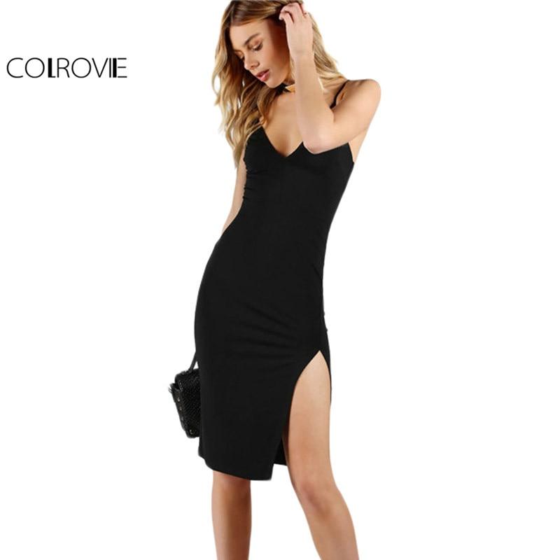 COLROVIE Night Club Pencil Party Dress Black Sexy Slit Front Slim Bodycon Summer Dresses 2017 Women V Neck Slip Midi Basic Dress