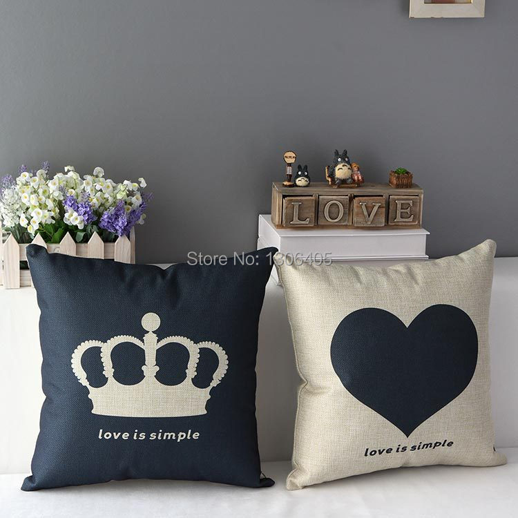Cotton and Linen Heart Cushion Cover Sofa Use Pillow Case Home Decor Imperial crown Design