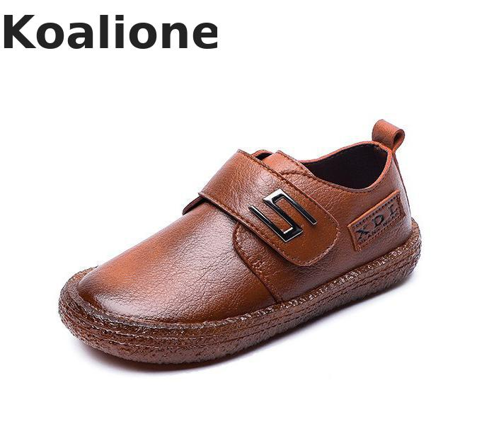 Kids Leather Shoes For Boys Wedding School Show Flats Shoes Classic Children Black Loafer Moccasins Fashion British Style Spring