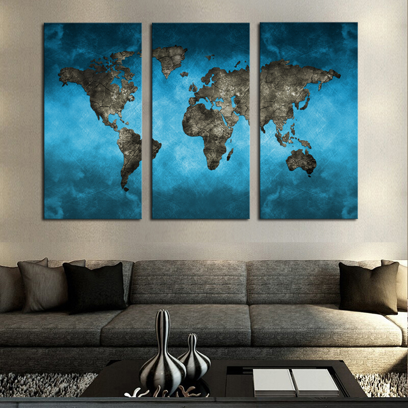 3 Panel Abstract World Map Canvas Printings Large Blue Global World