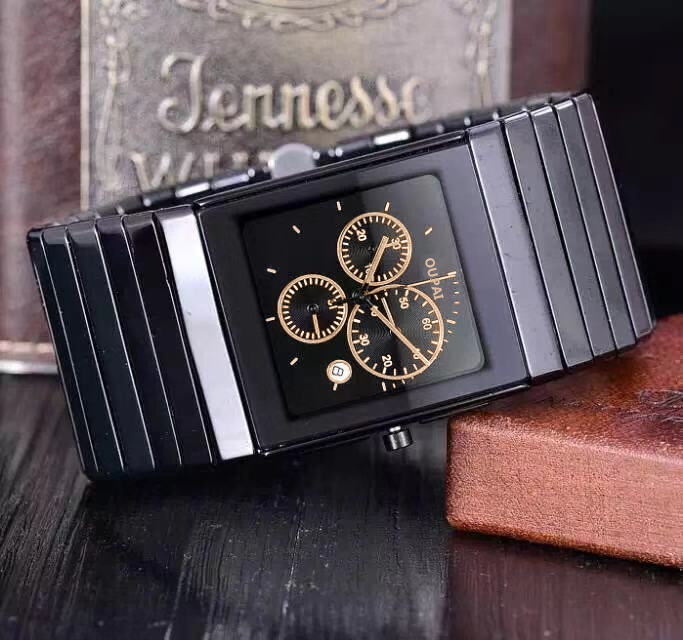 OUPAI Fashion Classic Square Black Ceramic Watch Men Rectangle Muti-Function Chronography Water Resistance Sports Man Watch