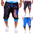 2016 boys summer graphics printing USA men's casual pants fashion trousers free shipping