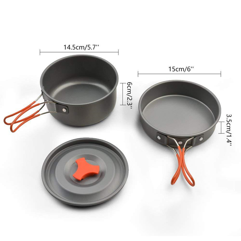 Image 2 - VILEAD Portable Bushcraft Camping Cookware Pot Pan Aluminum Alloy Outdoor Tableware Spoon Cooking tool for Hiking Picnic Travel-in Camping Cookware from Sports & Entertainment