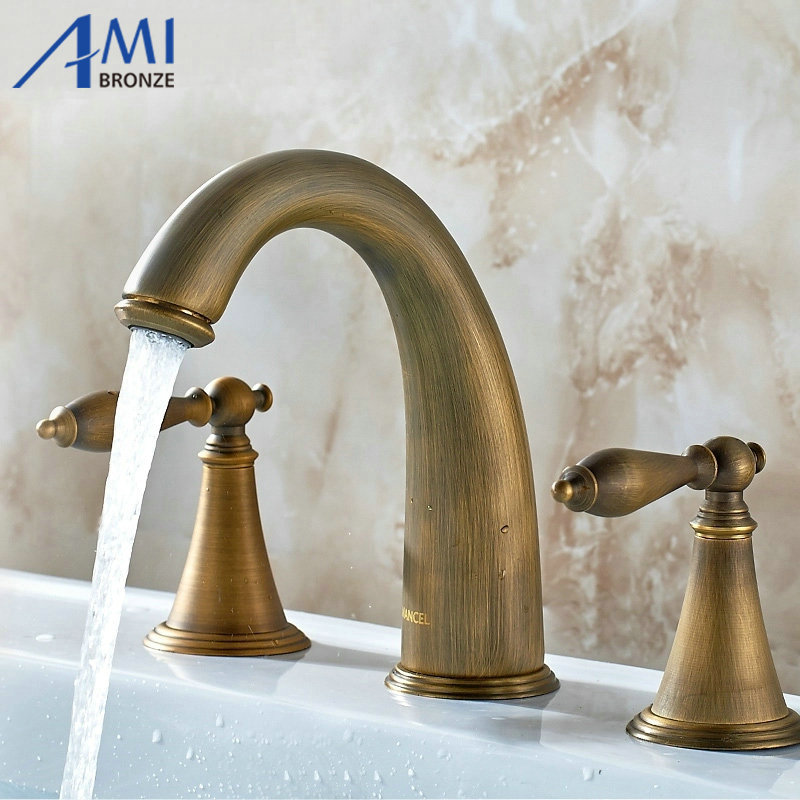 Antique copper bathroom 8 3 holes hot and cold bathroom basin faucet mixer tap faucet set pastoralism and agriculture pennar basin india