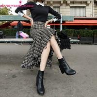 Irregular plaid print tassel tweed wool skirt women winter sexy bodycon work party Woolen skirt high quality E7697