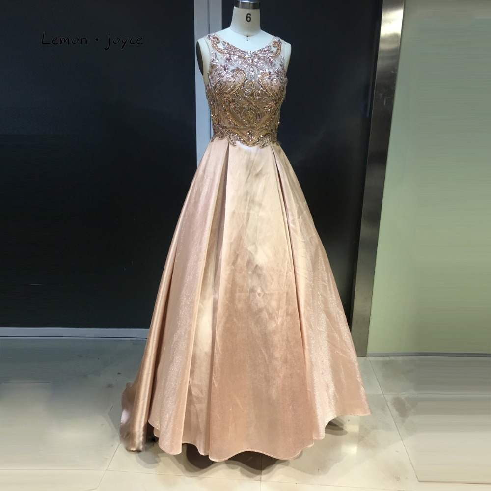 Lemon Joyce Luxury Champagne Evening Dresses Ball Gowns 2019 Beaded Illusion Long Evening Dress Woman Prom