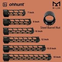 ohhunt Tactical M LOK Handguard Rail 7 9 10 12 13.5 15 M LOK Free Float Hand Guard Picatinny Weaver Mount Steel Barrel Nut