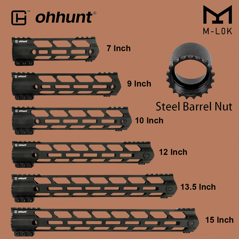 "ohhunt Tactical M-LOK Handguard Rail 7"" 9"" 10"" 12"" 13.5"" 15"" M LOK Free Float Hand Guard Picatinny Weaver Mount Steel Barrel Nut(China)"