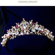 WEIJUN Rejuvenated high-end bride crown jewelry Pearl hair hoop handmade headdress Crown Wedding Hair Accessories