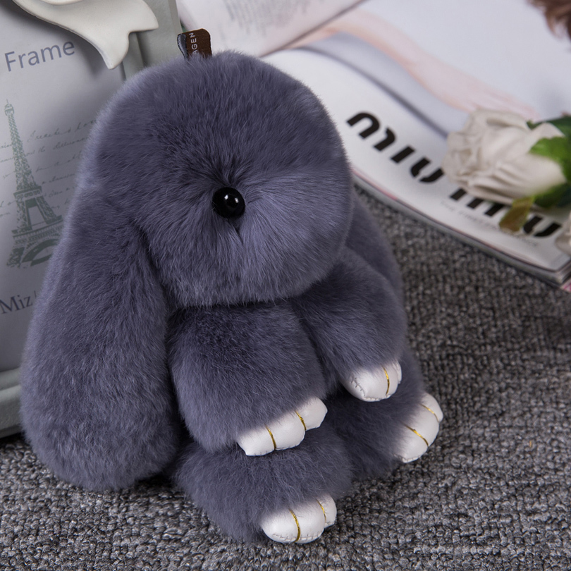 2017 Hot Real Fluffy Bunny Keychain Women Cute Rabbit Fur Ball Key Holder Pompon Toy Doll Bag Charm Car Key-ring Fashion Jewelry