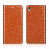 Business Crazy Horse Genuine Leather Case For Sony Xperia M4 Aqua Dual E2303 E2333 5 0
