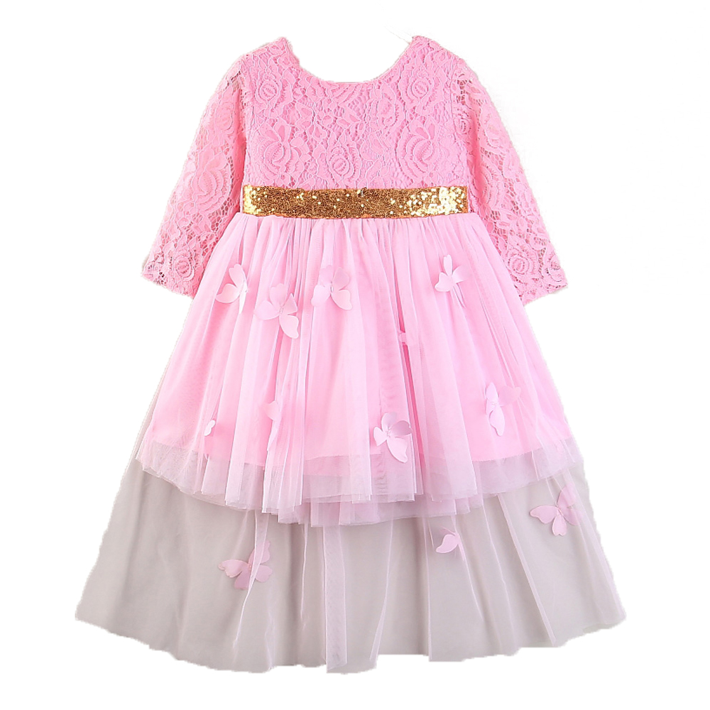 Toddler Girls Long Sleeve Lace Tulle Bowknot Party Dress Baby Girl Clothes Kids Evening Wear Princess Wedding Formal Dresses