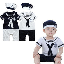 Toddler Newborn Captain Clothes Fashion Baby Boys Cotton Clothes Kids Sailor Romper Playsuit And Hat(China)