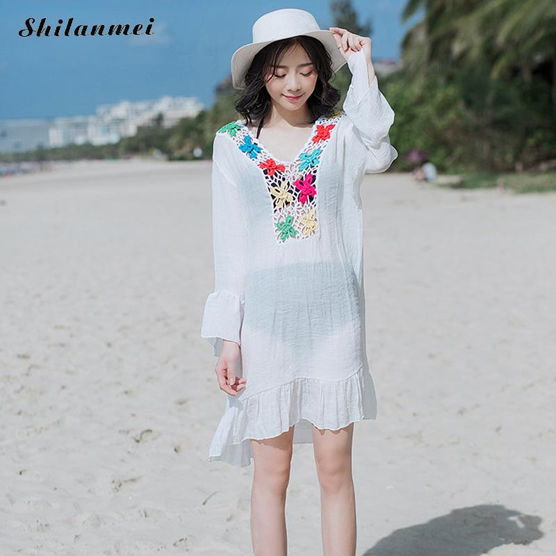 White Ruffles Womens Dresses Flare Sleeve Beach Cover Up Womens Tunic Patchwork Beachwear Cover-Ups Summer Dresss for Women
