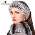 Inverno da pele das mulheres headbands malha rex pele de coelho gravata para cabeça envoltório ouvido mais quente 2015 mais nova moda das mulheres reais da pele hairband