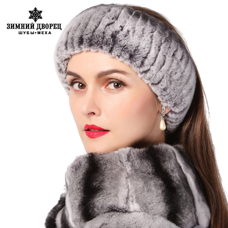 Winter Women Fur Headbands Knitted Rex Rabbit Fur Neckwear