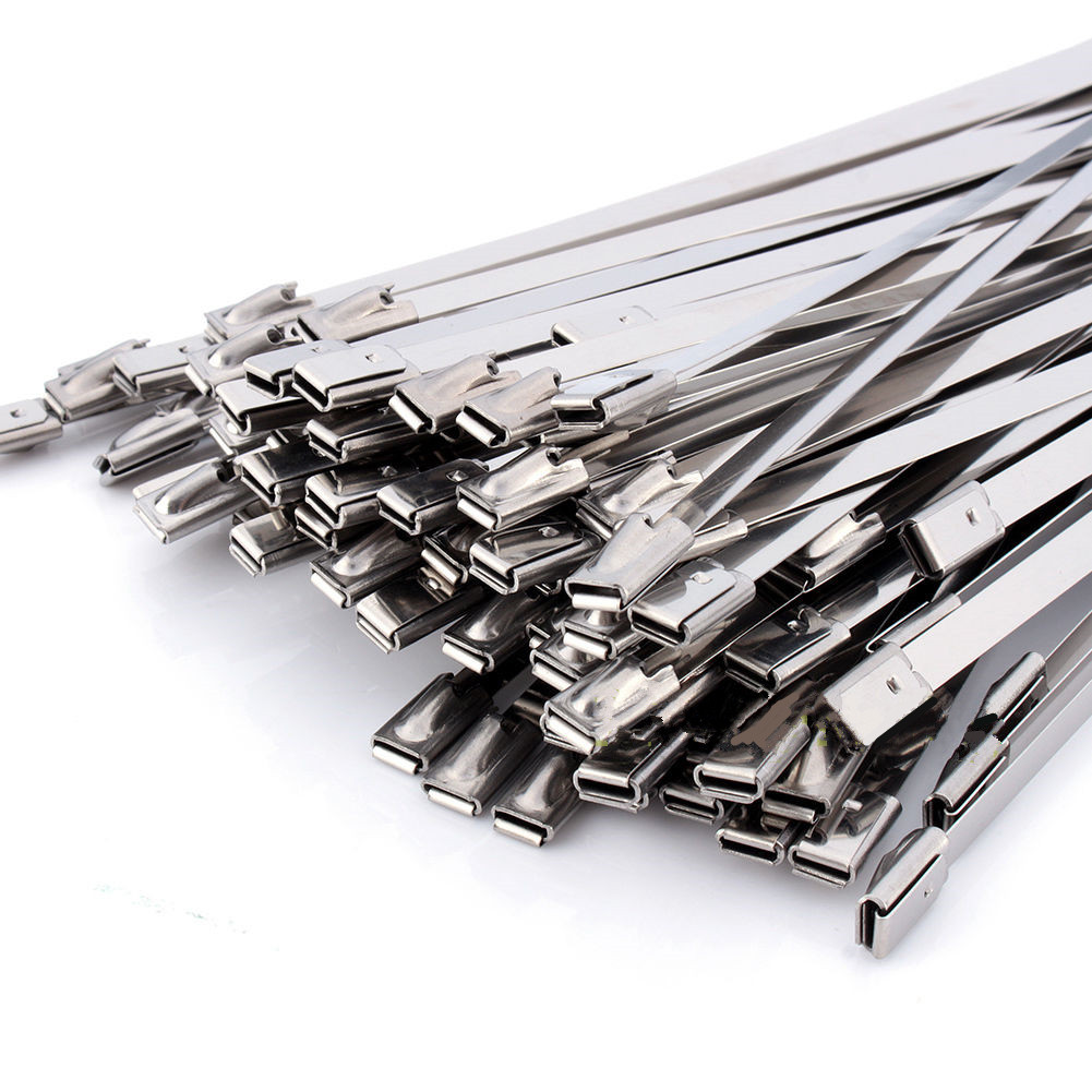 100pcs Self Locking Metal Cable Ties Stainless Steel Zip Tie 300x4.6x0.25mmFor Ship Electricity surplice neckline self tie cami jumpsuit