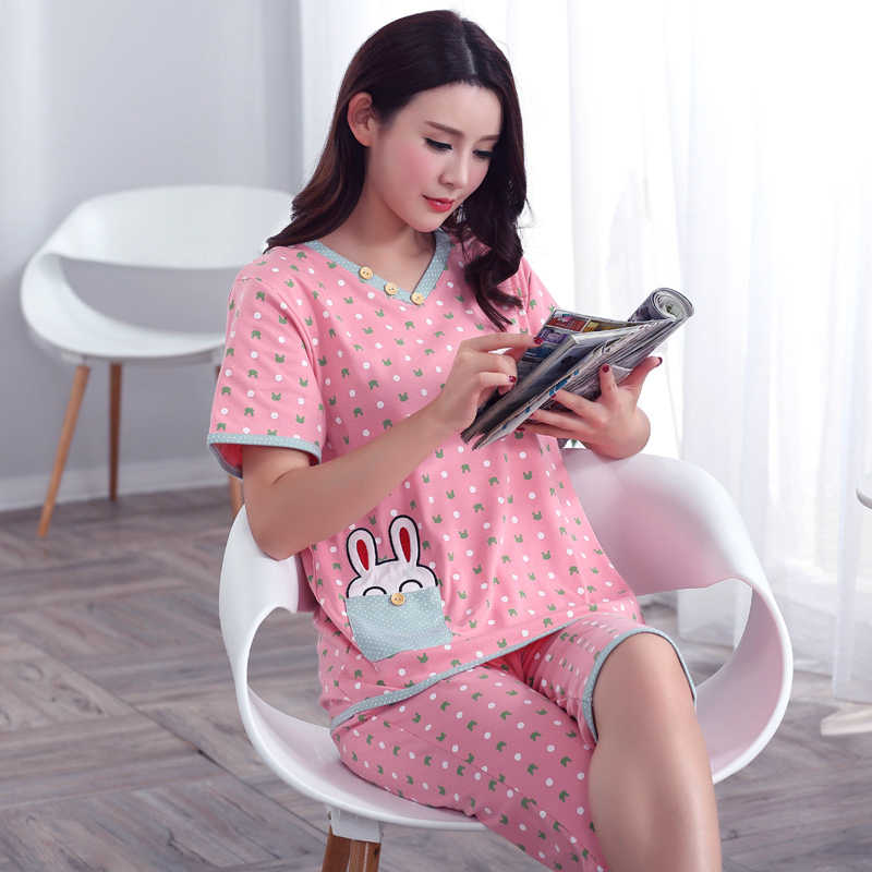 Plus Size XXXL 2019 summer sleepwear women pajamas sets v-neck cartoon short  sleeve pajama 57f6980b6