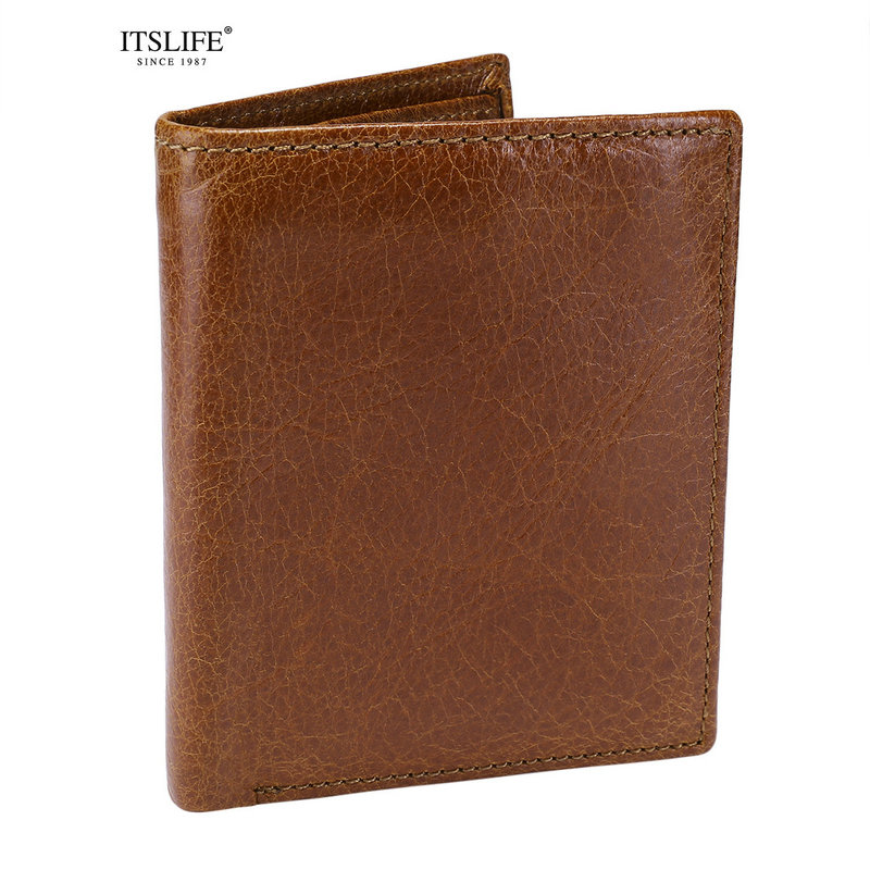 New Mens Genuine leather wallet Cowhide Short vertical compact bifold purse male coin pocket card holder zipper money case sale