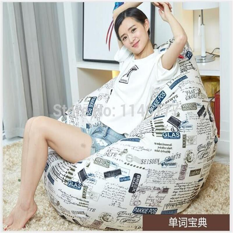 ФОТО Ywxuege   English words dictionary style Bean Bag Sofa Living Room Sofas     Linen Cotton Soft Sofa Bed Suit For Bed