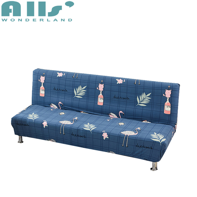 Sofa Bed Covers Living Room Blue Cartoon For Armless Couch Stretch Slipcovers Polyester Flamingo