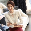 New 2017 Spring  Fashion Elegant White Ruffle And Beading Long Sleeve Lace Shirts Womens Big Size S-XXXL  3006