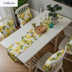 Frete grátis limões corredor de mesa e esteiras decoração de mesa hogar tafelloper para festa algodão masa kosucu tisch laufer