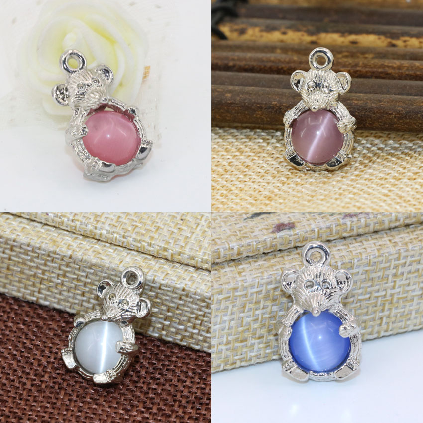 14*23mm 4 colors lovely mouse shape silver-color spacers accessories beads 5pcs inlay round cat eyes ball jewelry findingsB2568