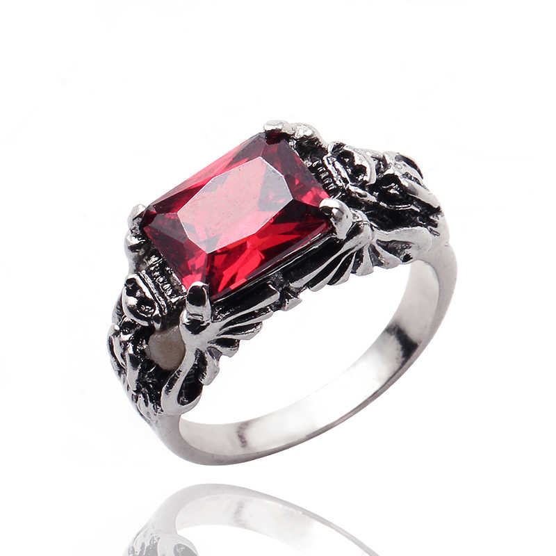 วินเทจบุรุษแหวนสีแดง/สีดำขนาดใหญ่คริสตัลกรงเล็บมังกรหัวมังกรแหวนข้ามวงกอธิคBikerอัศวินพังก์เครื่องประดับAccessoacces