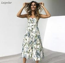 Women Summer Sexy Sleeveless Boho Dresses  Button Decor Mid-Calf Dress Princess With Pockets Laipelar