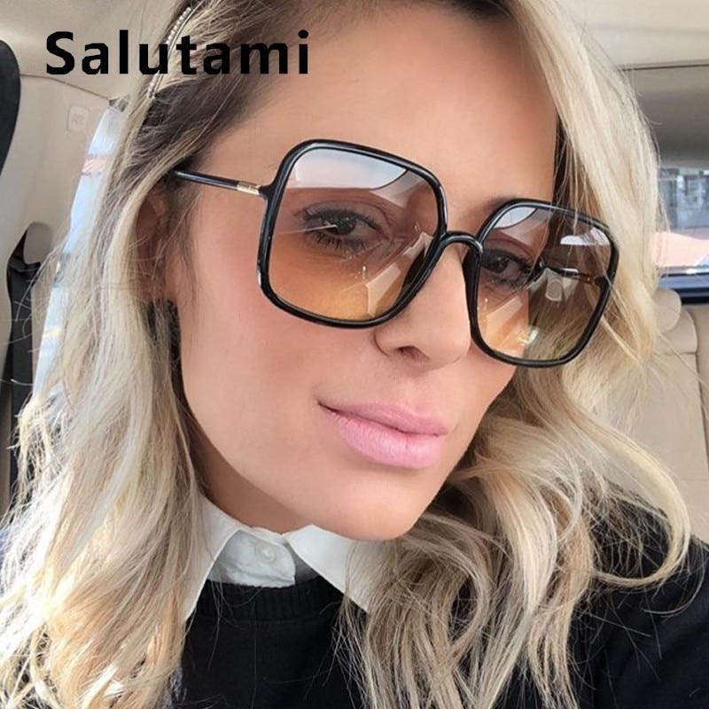 Surdimensionné unique pont carré lunettes de soleil pour femmes 2019 marque de luxe lunettes de soleil femme Ins chaud Vintage rétro hommes noir nuances