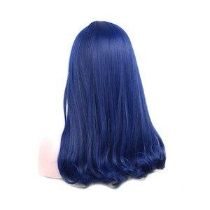 Image 2 - WoodFestival kadın donanma mavi sentetik kahküllü peruk uzun düz isıya dayanıklı Cosplay peruk kadınlar için
