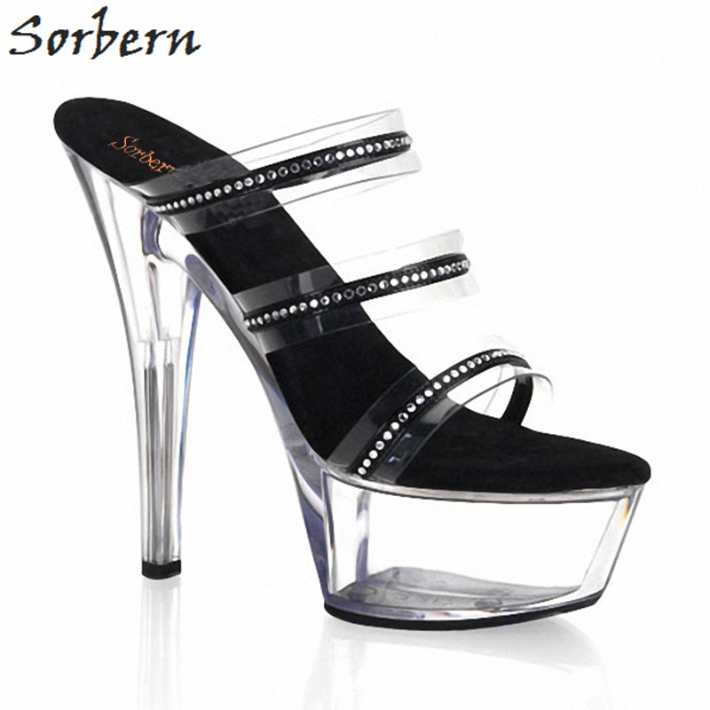 Sorbern Fashion Clear Pvc Women Slippers 15Cm High Heels Straps Clear Platforms Womens Sliders Fenty Women