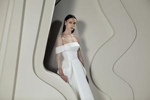 Image 3 - Verngo High/Low Wedding Dress Soft Satin Wedding Gowns Elegant Off The Shoulder Bride Dress Vestido De Noiva Sereia