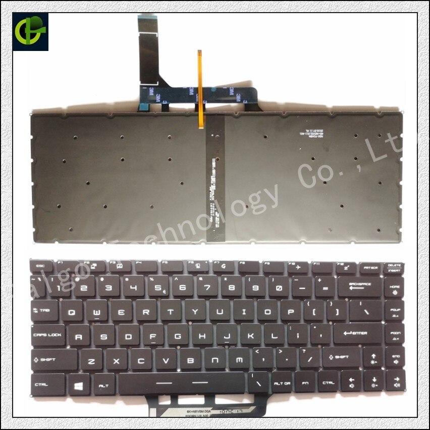 Английская клавиатура с подсветкой для MSI GF63 MSI GS65 8RC 8RD 8RE Stealth 8RF THIN GS65VR MS-16Q1 ноутбука США - Цвет: Черный