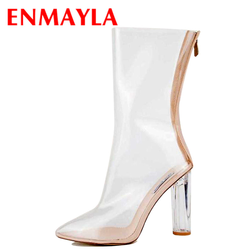 ENMAYLA Transparent Style Shoes Woman Summer Boots Plus Size 34-43 Mid-calf Boots for Women High Heels Zipper Shoes Short Boots czrbt geniune cow patent leather front zipper women high heels 8cm boots ladies brand style mid calf shoes women 100% handmade