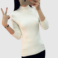 Short Design Turtleneck Sweater Basic Female Long Sleeve Thickening Slim Pullover Sweater