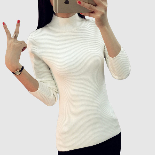 2016 Women Sweater Women fashion Slim Solid Autumn and Winter Knitted Warm Turtleneck Pullover Women Sweater